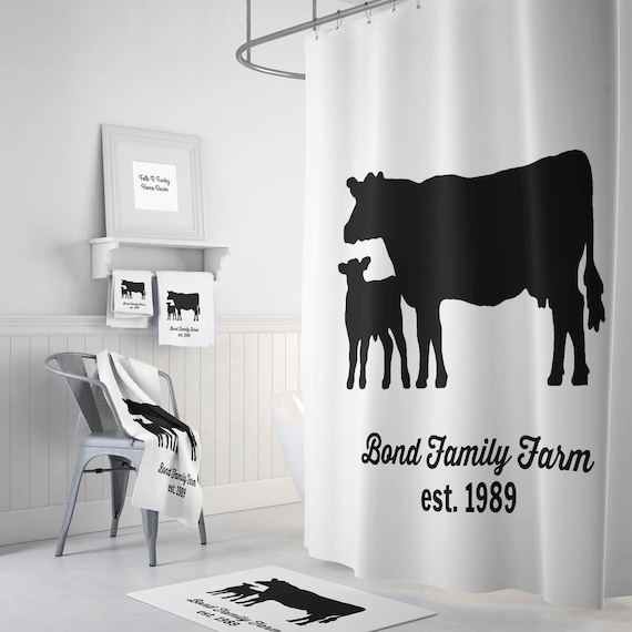 Personalized Cow Shower Curtain Farmhouse Chic Black And White