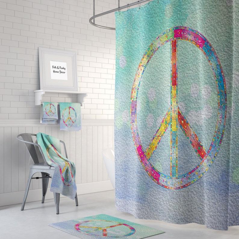 Peace Sign Shower Curtain Optional Bath Mat Bathroom Set