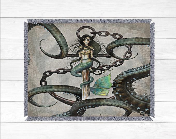 Mermaid Steampunk Woven Throw Blanket
