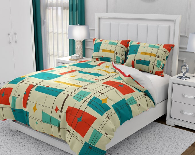 Mid Century Modern Bedding, Duvet Cover or Comforter, Twin, Full, Queen, King, Atomic Plaid