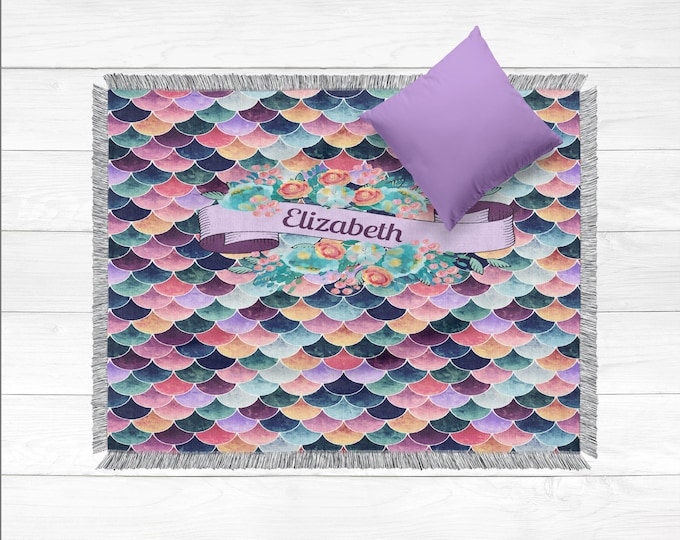 Personalized Woven Cotton Blanket, Purple Mermaid Scales
