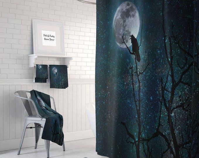 Gothic Shower Curtain Raven  Crow, Night Sky  ,Bath Mat , Bath Towels