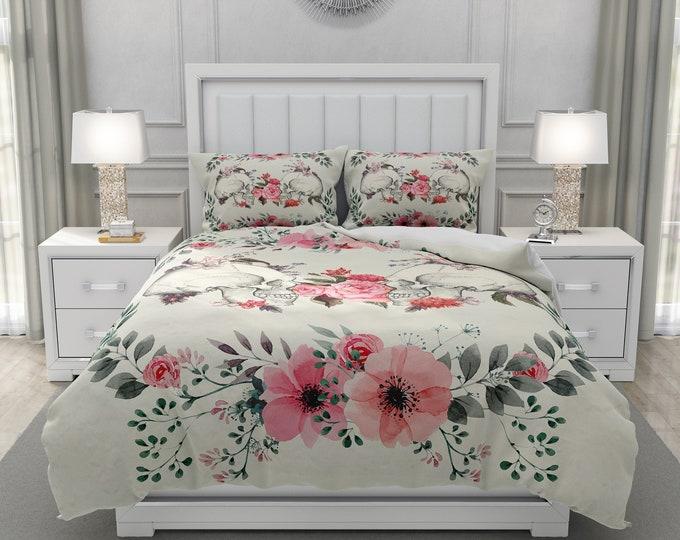 Floral Skull Couple Bedding Set | Comforter or Duvet Cover