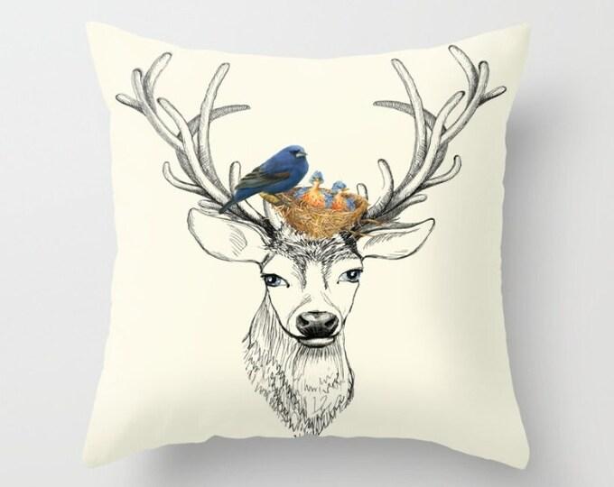 Deer and Blue Birds Throw Pillow Majestic Buck Antlers