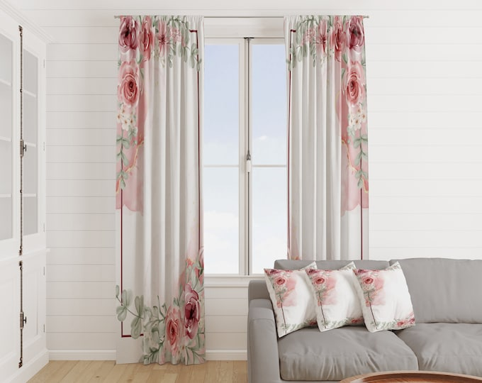 Watercolor Rose Floral Window Curtains