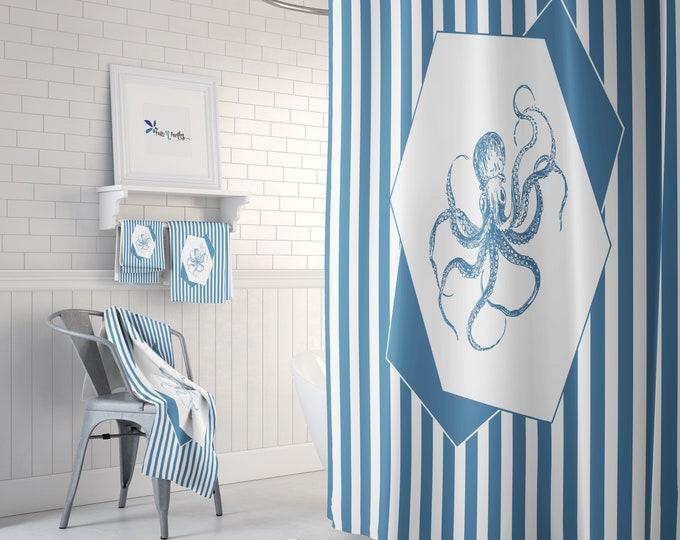 Blue Octopus Bathroom Decor Shower Curtain, Towels, Bath Mat Options