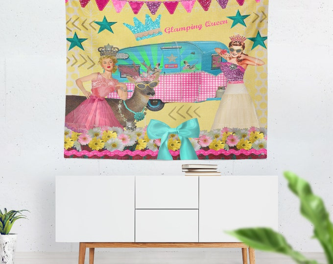Retro Wall Tapestry, 1960's Pin Up Glamper Campers Girls