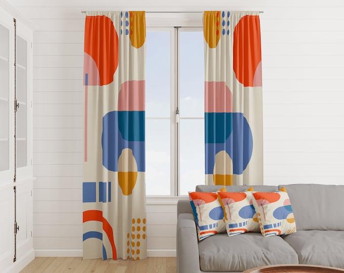 Mid Century Modern Abstract Window Curtains