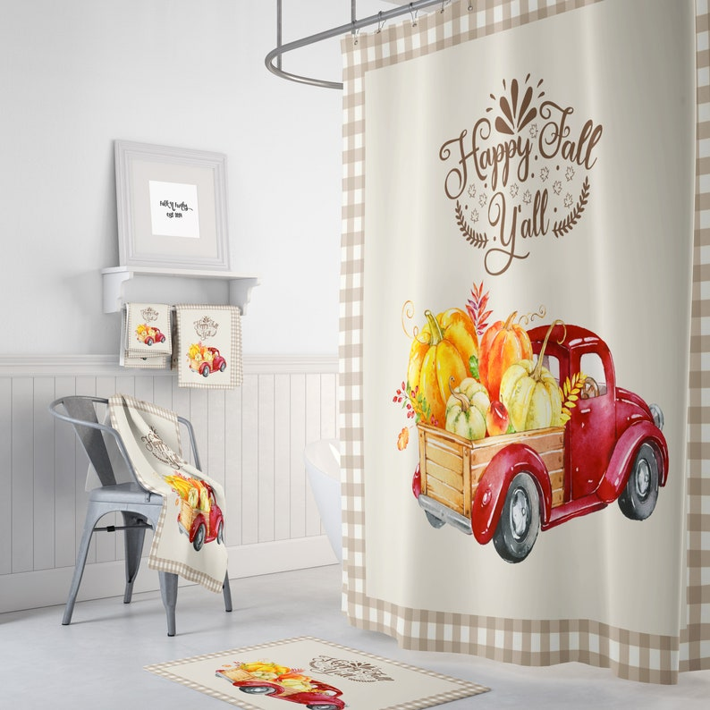 Shower Curtain RedTruck with Pumpkins Happy Fall image 0