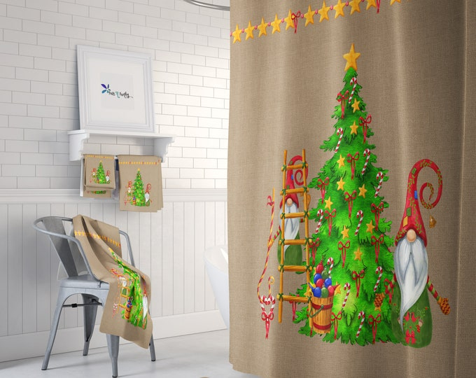 Christmas Gnome Bathroom Decor Shower Curtain Mix and Match Towels Mat