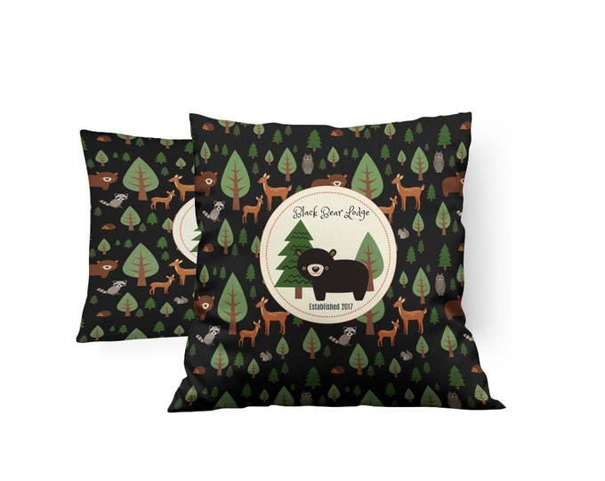 Woodland, Lodge, Bear , Personalized  Throw Pillow, Rustic Cabin Animals