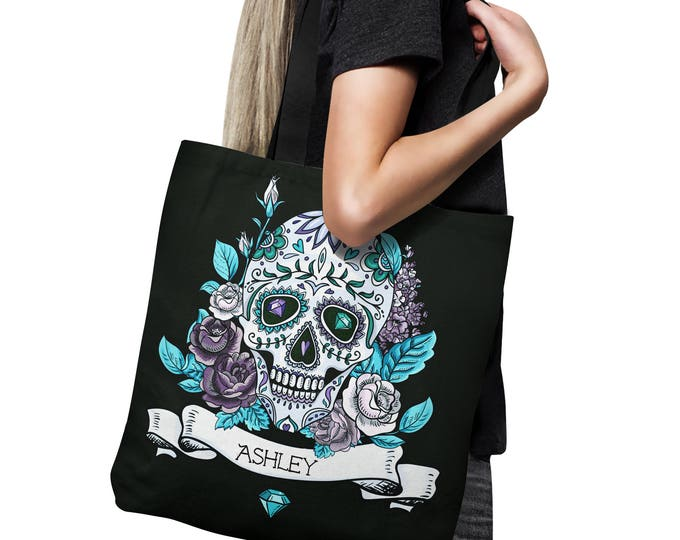 Personalized  Skull Tote Bag, Canvas Bag , Shopping Bag 18x18, Purple Rose