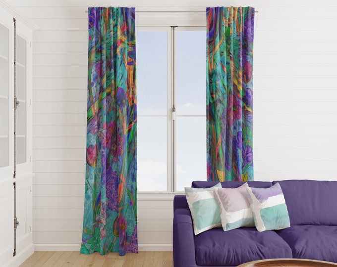 Boho  Abstract Floral Window Curtains Sweet Iris