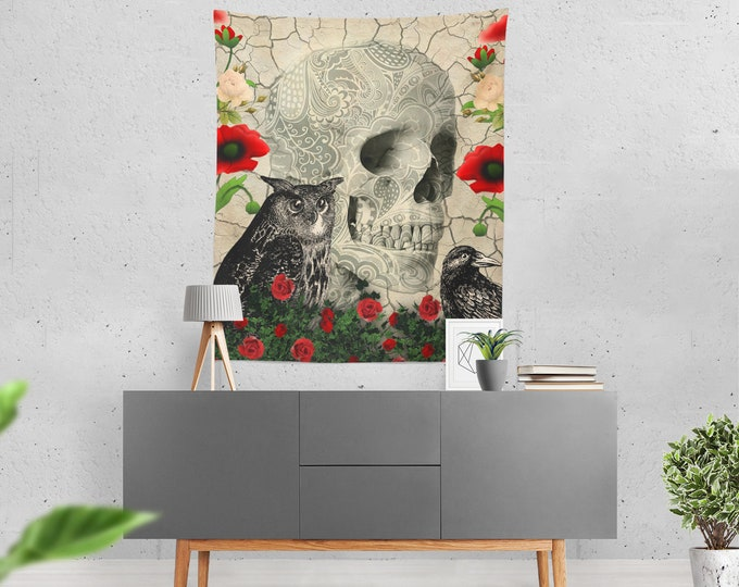 Gothic  Skull Wall Tapestry , Feathered Friends, day Of The Dead