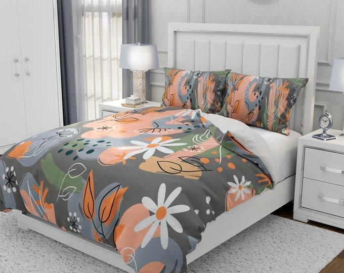 Gray Modern Floral Bedding Set