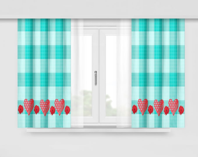 Rv Camper Glamping Custom Curtains, Turquoise Checks , Camper Makeover Decor