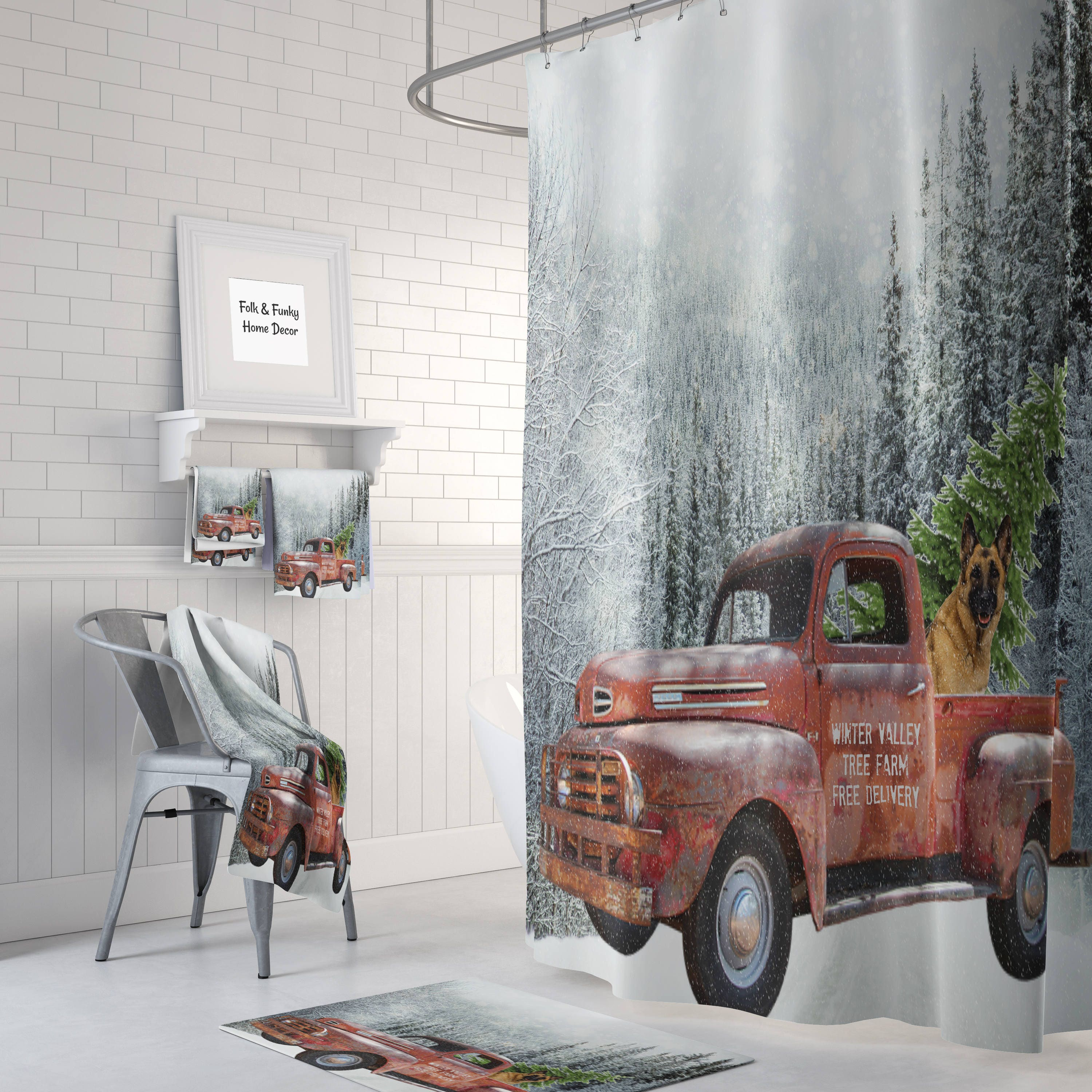 Red Truck With Christmas Tree Shower Curtain Bath Mat Towels Rusty German Sheperd Farm
