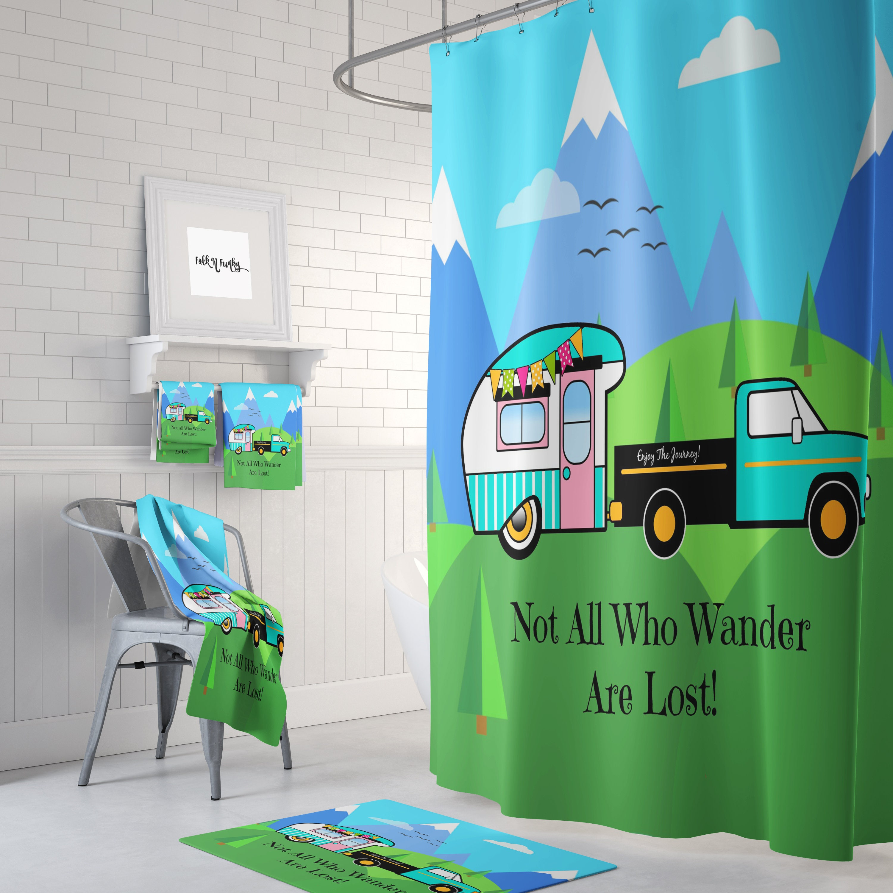 Vintage Camper Shower Curtain, Rv Size
