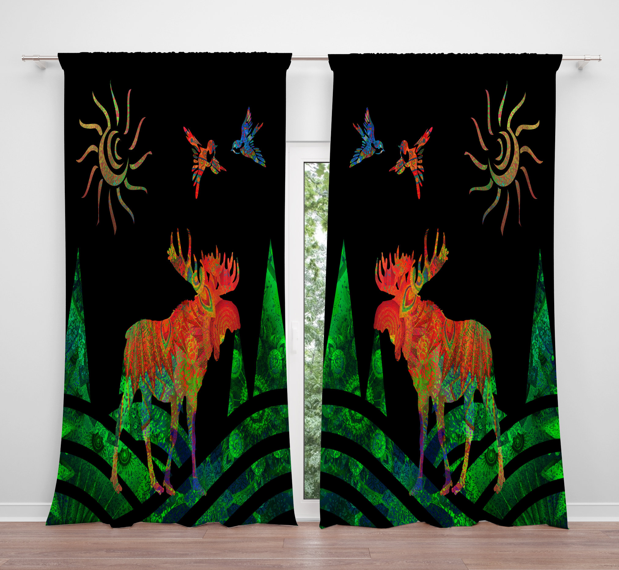 Fabulous Window Curtains Funky Forest Moose, Long Curtains, Short Curtains OD71