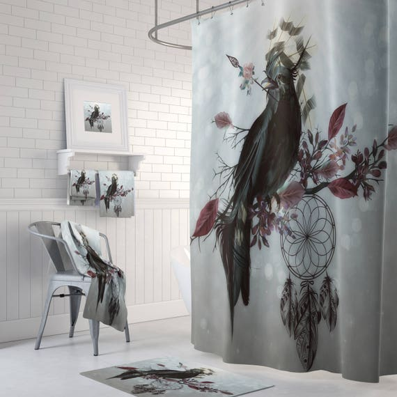 Raven Crow Dream Catcher Shower Curtain Boho Chic Bath
