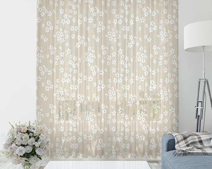 Dainty Floral  Beige Sheer Window Curtains