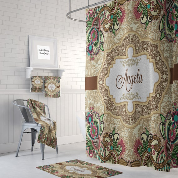 Personalized Shower Curtain Optional Bath Mat/Towels Set ...