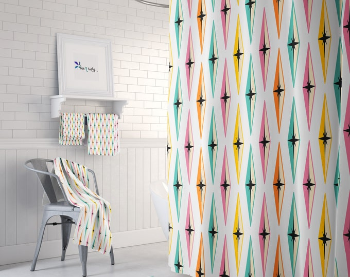 Mid Century Modern Shower Curtain Diamond Pattern