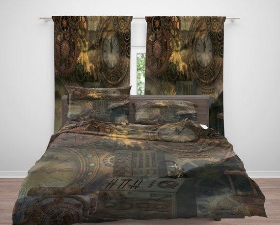Copripiumino Dream Fun.Industrial Home Decor Industrial Comforter Duvet Cover Steam Punk Bedding Industrial Rug Window Curtains Fleece Blanket Throw Pillows