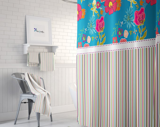 Floral Striped Shower Curtain Optional Towels and Bath Mat