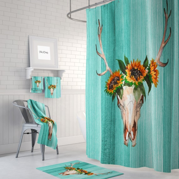 Turquoise Deer Skull Shower Curtain , Antlers Sunflowers Crows