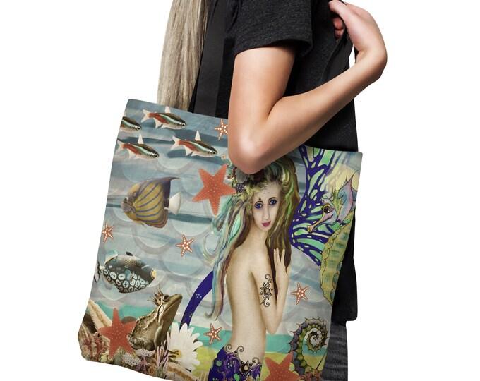 """Mermaid  Beach  Bag,Tote Bag  Canvas Bag , Shopping Bag 18x18, """"Katie"""""""