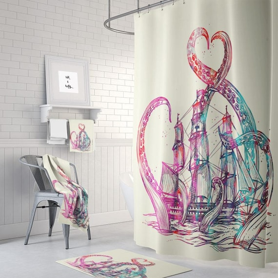 Octopus And Ship Shower Curtain Kraken Tatoo Design Cream