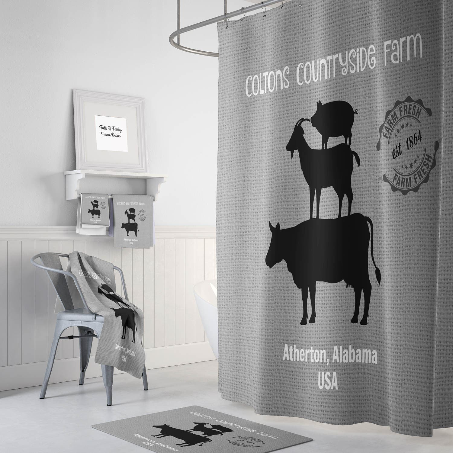 Custom Personalized Farm Shower Curtain Farmhouse Chic Gray Optional Bath Mat Set Stacked Animals