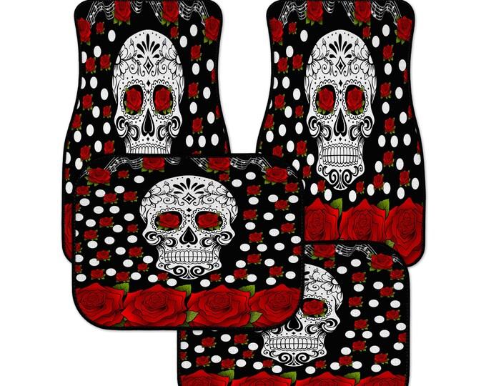 Sugar Skull Cat Mats, Red Roses