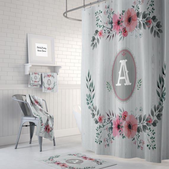 Shabby Custom Monogram Shower Curtain Optional Bath