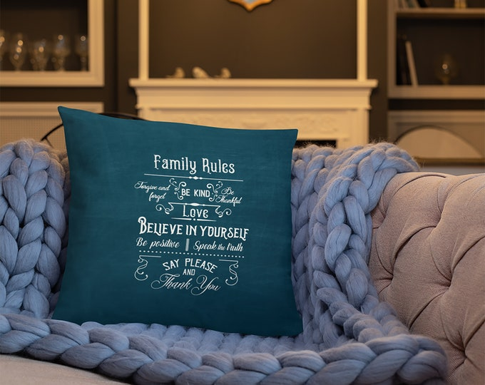 Family Rules Throw Pillow, Rustic Country Farmhouse Accent Pillow