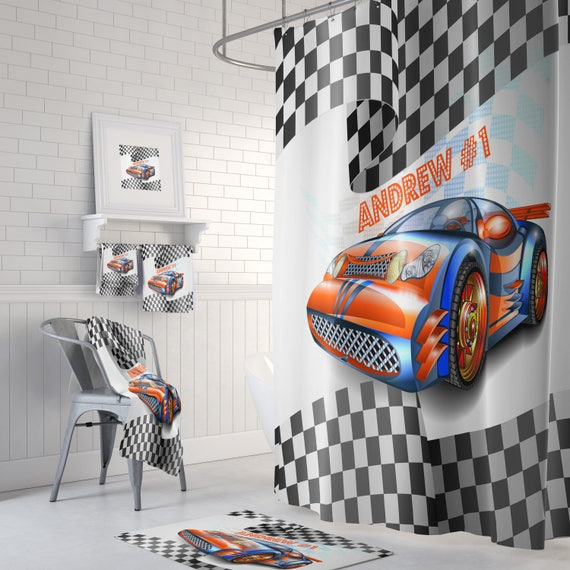 Race Car Shower Curtain Bath Mat Towels Racing Fan