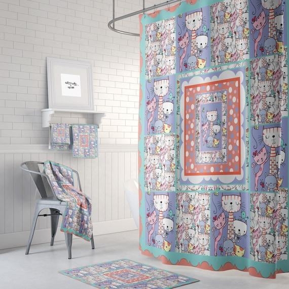 Cat Crazy Shower Curtain, Quilt Style Design, Optional Bath Mat, Bath Towels
