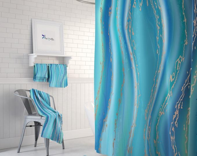 Beach Agate Teal Shower Curtain Optional Bath Mat, Bath Towels, Bathroom Set