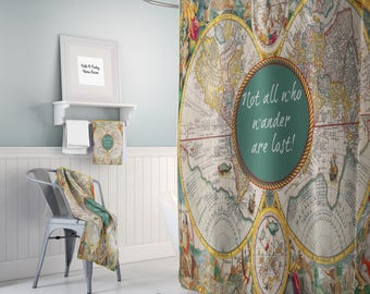 world map shower curtain historical colorful vintage map not all who wander are lost bathroom