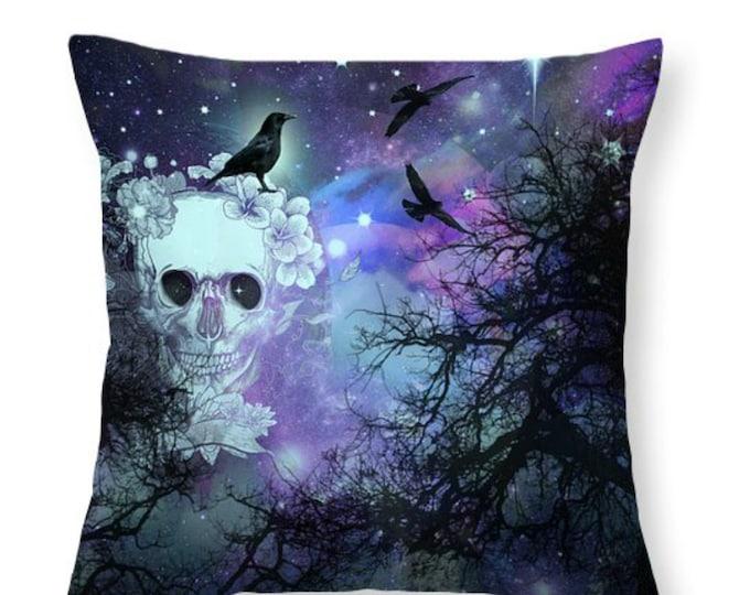 Sugar Skull Pillow Night Sky Trees Crows