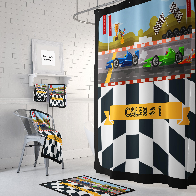Personalized Race Car Shower Curtain Bath Mat Towels Racing Drag Racer Bathroom Set