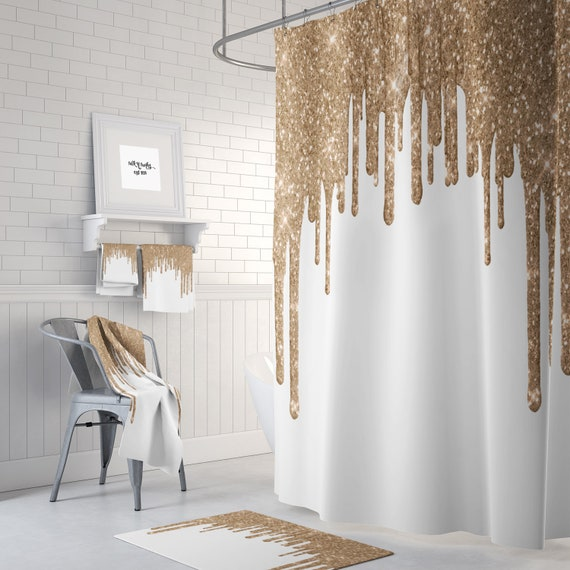 Shower Curtain Champagne And White Sparkle Bath Towels