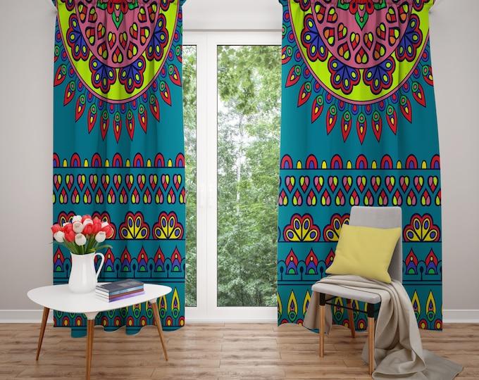 Hippie Boho Mandala Window Curtains