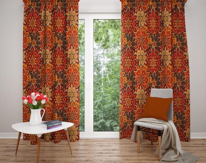 Hippie Floral Boho Window Curtains Retro Orange
