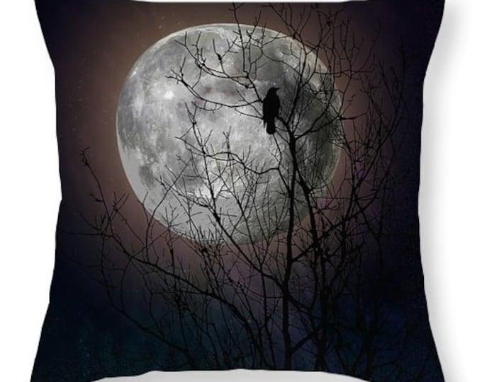 Raven Tree Moon Throw Pillow Moon Glow Night Sky