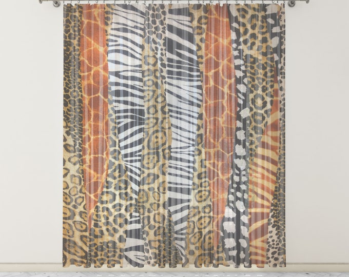 Animal Print Sheer Window Curtains Eclectic Boho
