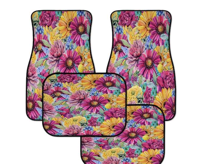 Pink Boho Floral Car Mats