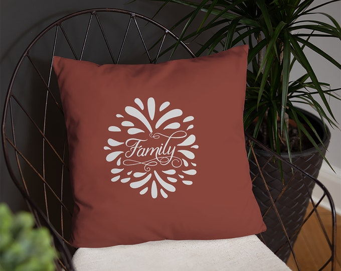 Family Throw Pillow, Rustic Country Farmhouse Accent Pillow