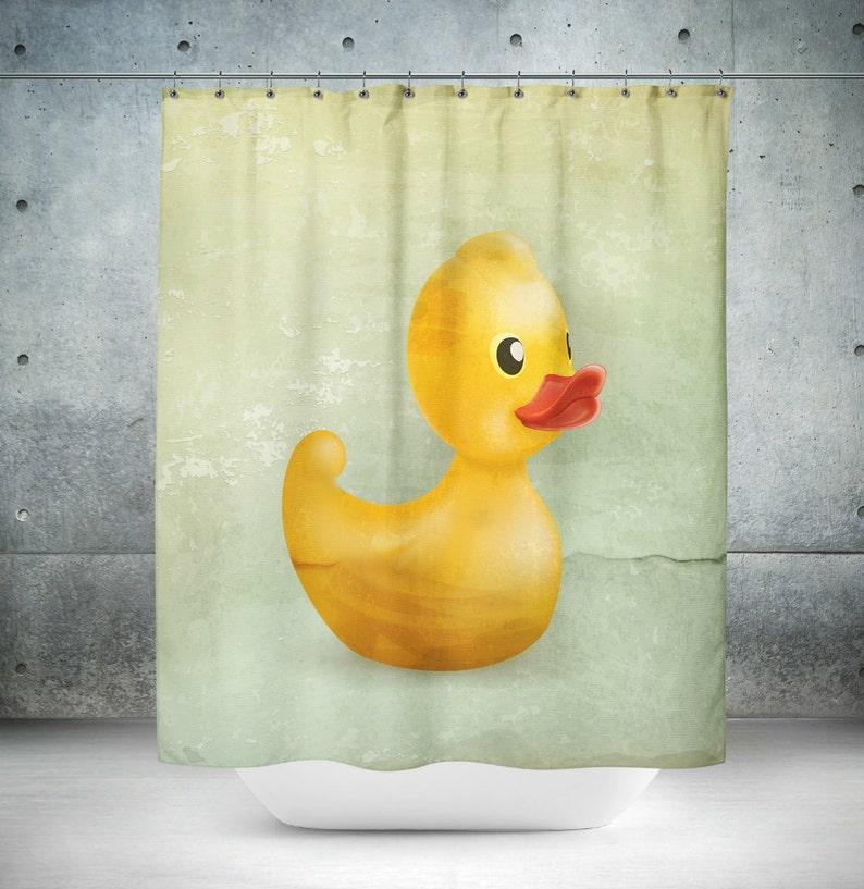 Rubber Duck Shower Curtain Retro Vintage Design